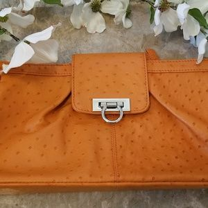🌿Genuine Ostrich Leather 🦋 Clutch Wristlet